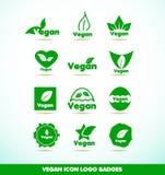 Insignias del icono del logotipo del texto del vegano fijadas Fotos de archivo