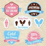 Insignias del logotipo de la tienda de helado Fotografía de archivo libre de regalías