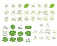 Insignias del producto de 100 etiqueta pura y de alta calidad Icono del producto orgánico, bio y natural de la bio comida sana de stock de ilustración