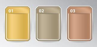 Insignias del rectángulo de Infographic con número Foto de archivo libre de regalías
