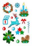 Insignias del remiendo de la Navidad, etiquetas engomadas Fotos de archivo