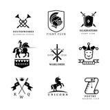 Insignias del vector de la espada del vintage y etiquetas o sistema del logotipo Imagen de archivo libre de regalías