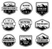 Insignias del vector de la montaña stock de ilustración