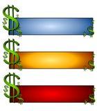 Insignias del Web page de las finanzas del dinero Imágenes de archivo libres de regalías