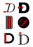 Insignias e iconos del alfabeto D del vector Fotografía de archivo
