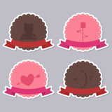 Insignias en blanco de la tarjeta del día de San Valentín Imagen de archivo libre de regalías