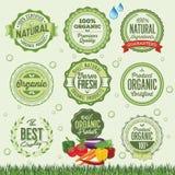 Insignias, etiquetas y elementos del alimento biológico Imagen de archivo