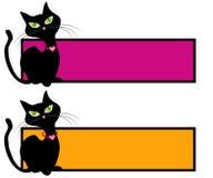 Insignias felinas del Web page del gato negro Foto de archivo libre de regalías