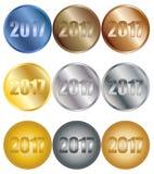2017 insignias fijadas Imagen de archivo