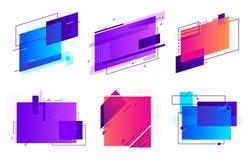Insignias geométricas rectangulares Marco de moda, diseño mínimo y fondo abstracto de la disposición de la plantilla de los marco stock de ilustración