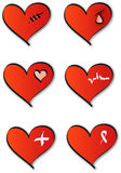 Insignias médicas del corazón Imagen de archivo