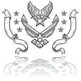 Insignias modernas de la fuerza aérea de los E.E.U.U. con las cintas Imágenes de archivo libres de regalías