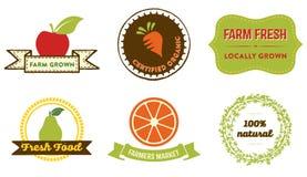 Insignias naturales de la comida Fotos de archivo libres de regalías