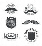 Insignias for No Shave November. Retro Vintage Insignias for No Shave November - Movember Stock Images