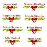 Insignias o banderas del saludo de la Navidad Imagen de archivo