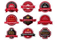 Insignias o etiquetas planas de la garantía del producto de calidad Fotografía de archivo