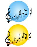 Insignias o iconos de la escala de las notas de la música ilustración del vector