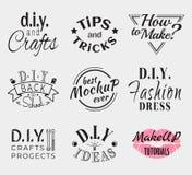 Insignias o logotipos retros del vintage fijados Vector los elementos del diseño, muestras del negocio, logotipos, identidad, eti Foto de archivo libre de regalías
