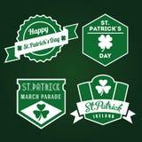 Insignias pasadas de moda felices de St Patrick Imagen de archivo