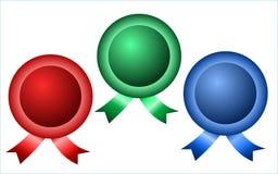 Insignias redondas con las cintas Imagen de archivo libre de regalías