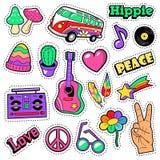 Insignias, remiendos, etiquetas engomadas - Van Mushroom Guitar y pluma del hippie de la moda en el estallido Art Comic Style Imagen de archivo
