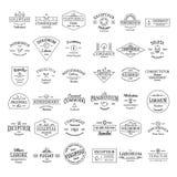 Insignias retras del logotipo del vintage fijadas Fotografía de archivo