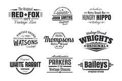9 insignias retras del vintage ilustración del vector