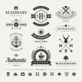 Insignias retras del vintage o vector fijado logotipos Foto de archivo