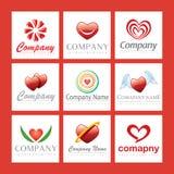 Insignias rojas de la compañía del corazón Ilustración del Vector