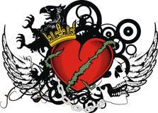 Insignias rojas de la cresta del tatuaje del corazón del grifo heráldico libre illustration