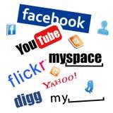 Insignias sociales de la red Foto de archivo