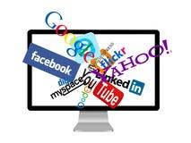 Insignias sociales de la red en monitor Imagen de archivo libre de regalías