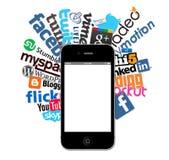Insignias sociales e Iphone 4 Foto de archivo