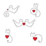 Insignias y elementos animales del amor Imagen de archivo libre de regalías