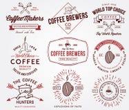 Insignias y etiquetas del café coloreadas Imágenes de archivo libres de regalías