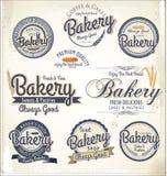 Insignias y etiquetas retras de la panadería imagenes de archivo