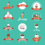 Insignias y etiquetas retras del helado del vintage Imagen de archivo