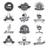 Insignias y etiquetas retras del helado del vintage Fotos de archivo libres de regalías