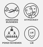 Insincere business , hypocrisy , lie and winner  icon . business concept Royalty Free Stock Images
