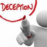 Insincerità di menzogne di disonestà di parola di scrittura dell'uomo di inganno illustrazione di stock