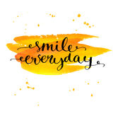 Insirational quote be smile everyday. Black ink Stock Photography