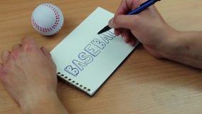 Inskrift av baseball och bollen lager videofilmer
