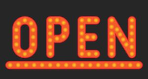 Inskrift av den öppna lampan Arkivbilder