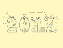 Inskrift av det nya året 2016 med garnering vektor illustrationer