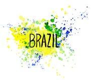 Inskrift Brasilien på bakgrundsvattenfärgfläckar Royaltyfria Bilder