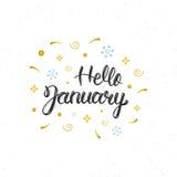 Inskrift för bokstäver för borste för Hello Januari hand skriftlig modern Moderiktigt handbokstävercitationstecken, konsttryck fö stock illustrationer