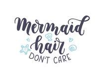 Inskrift för bokstäver för omsorg för ` t för sjöjungfruhåruniversitetslärare med snäckskaliso stock illustrationer