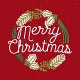 Inskrift för glad jul som är handskriven med den eleganta kursiva stilsorten inom kransen eller den runda ramen som göras av barr vektor illustrationer