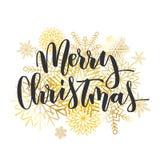 Inskrift för hand för glad jul skriftlig Arkivbilder