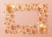 Inskrift för julmallram som dekoreras med orange snöflingor 10 eps vektor illustrationer